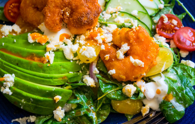crispy buffalo shrimp salad with avocado and feta