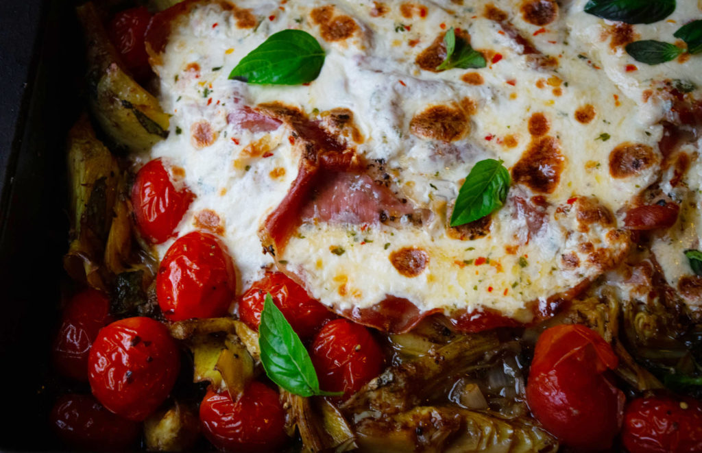 Easy Prosciutto Mozzarella Chicken with Balsamic Tomato and Artichoke Pan Sauce