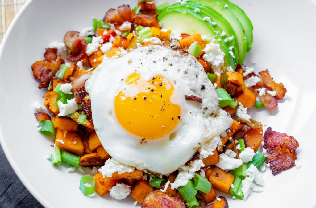 Sweet Potato Breakfast Hash with Bacon, Feta and Avocado