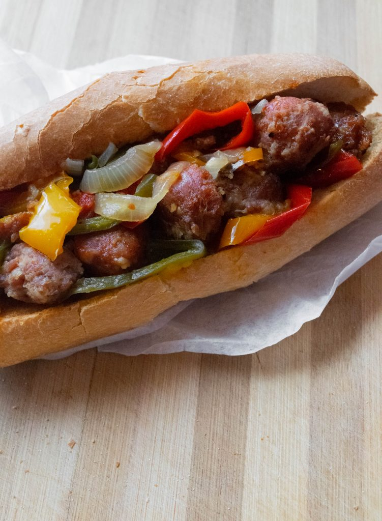 bourbon sausage and peppers sandwich