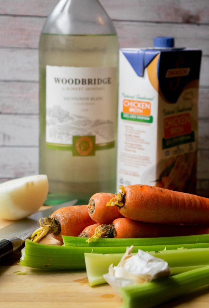 wine chicken stock veggies
