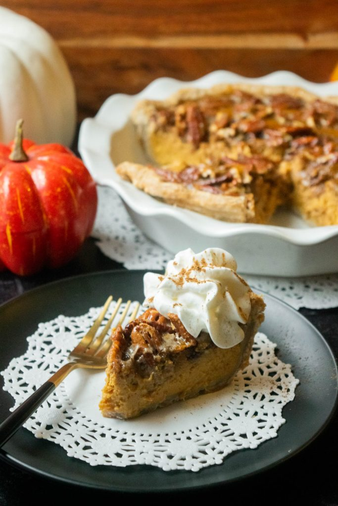 slice of pecan pumpkin pie