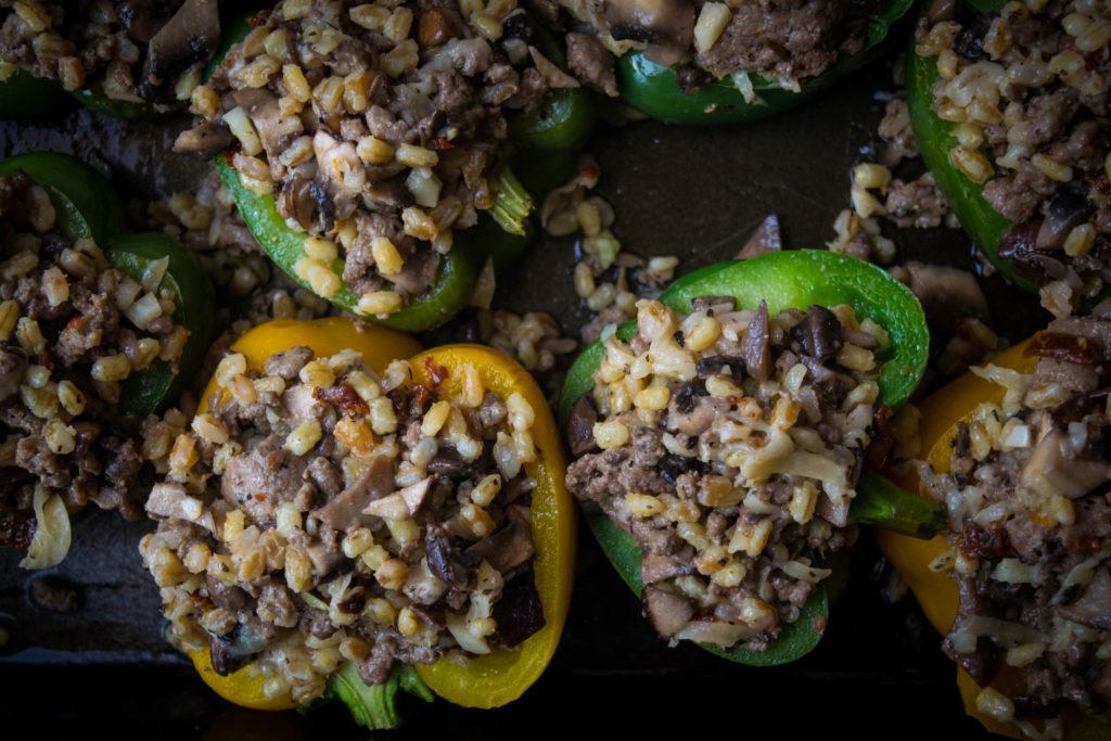Turkey Farro Stuffed Peppers