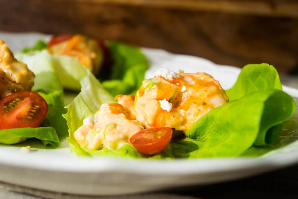 buffalo shrimp salad lettuce wraps