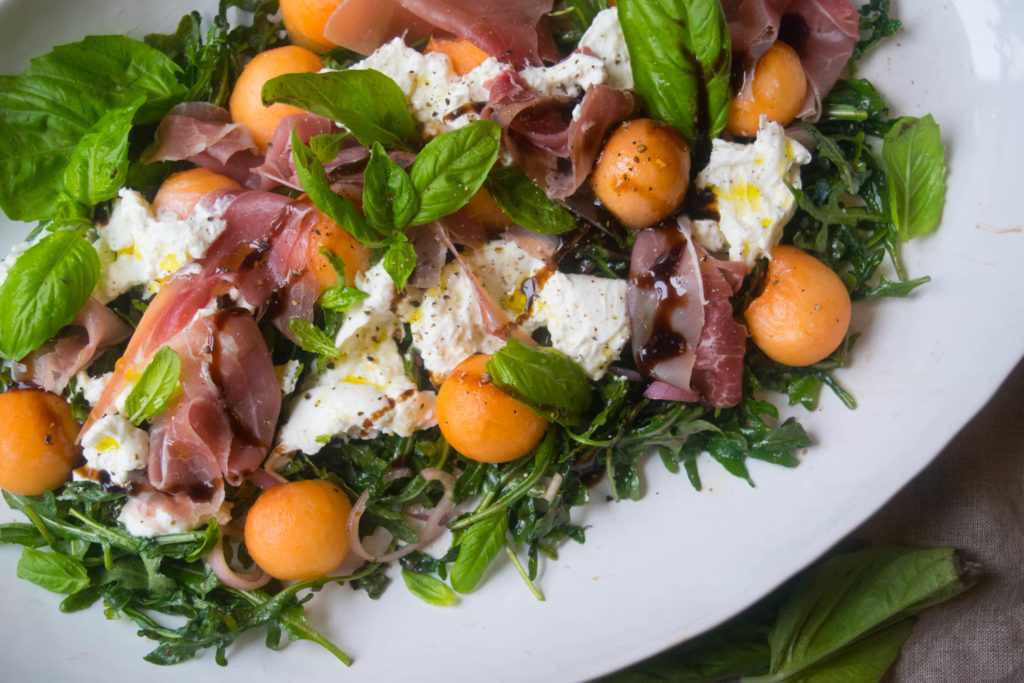 prosciutto melon salad with burrata