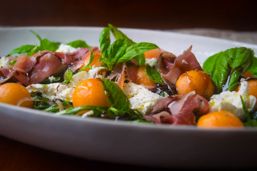 prosciutto melon burrata salad