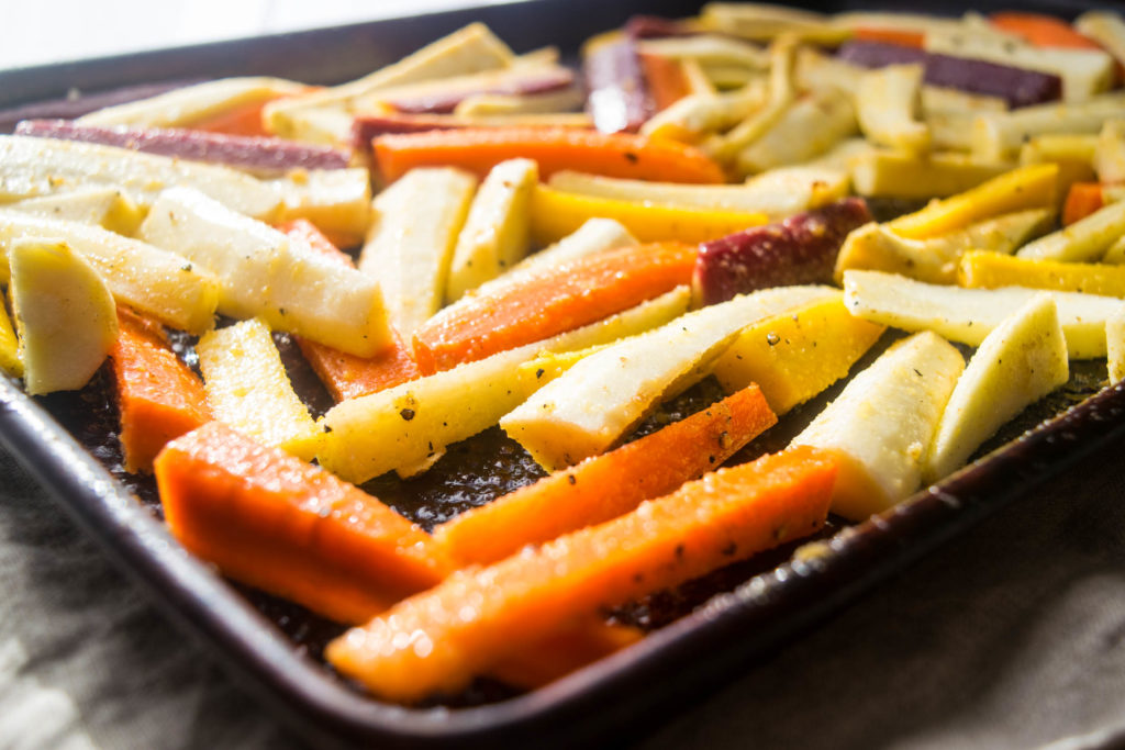 Roasted Carrots and Parsnips with Honey-Thyme Butter and Goat Cheese