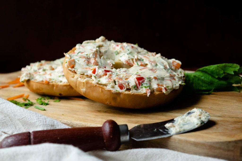 homemade veggie cream cheese on bagel