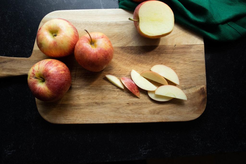 sliced apples for apple cake