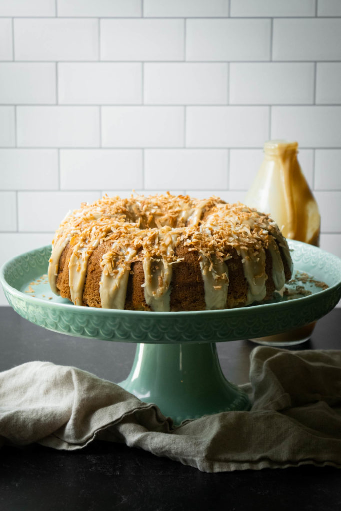apple cake with coconut caramel and toasted coconut