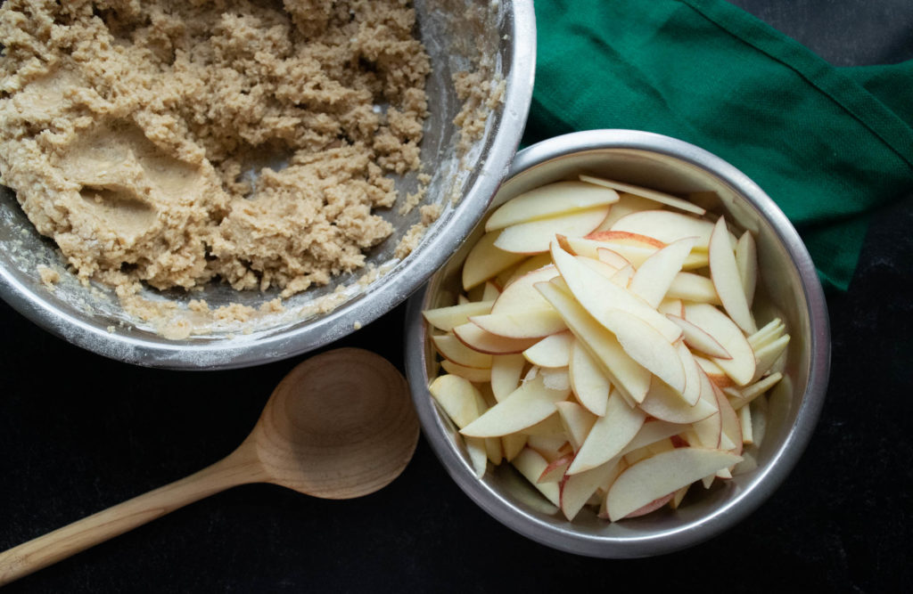 apple cake batter and apple slices