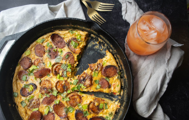 blackened shrimp and andouille sausage frittata
