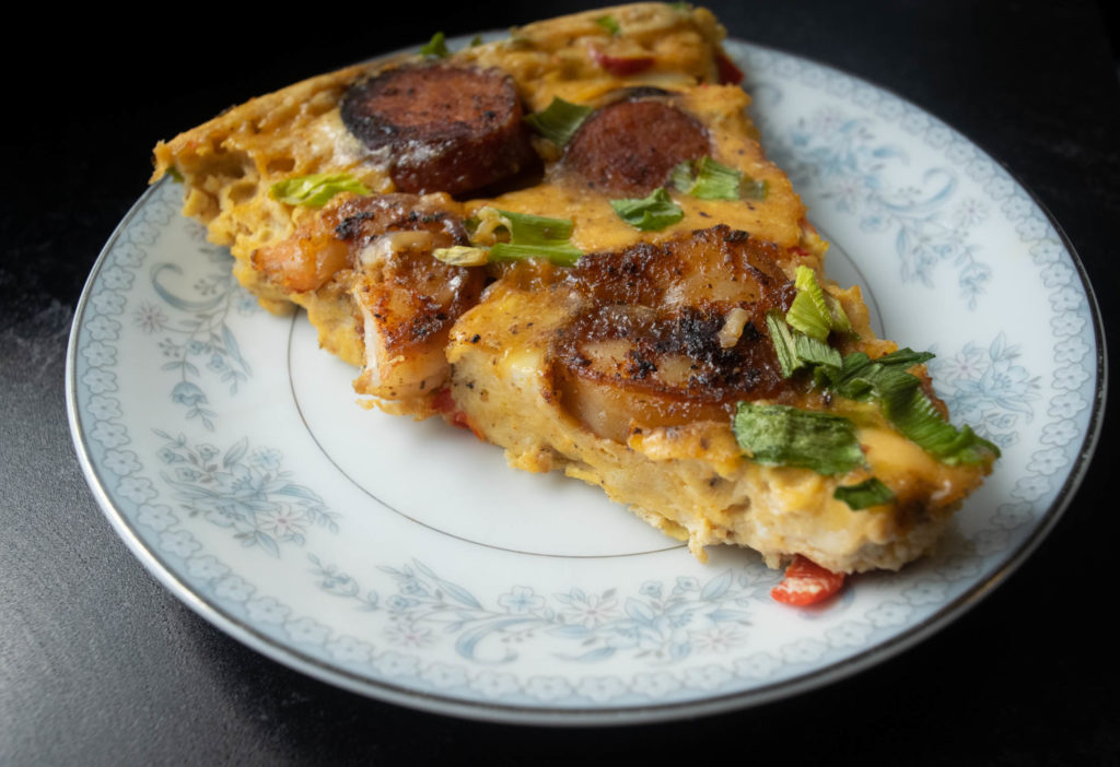 sliced blackened shrimp and andouille frittata