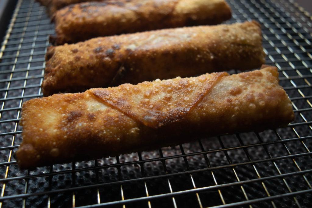 Italian prosciutto mozzarella egg rolls