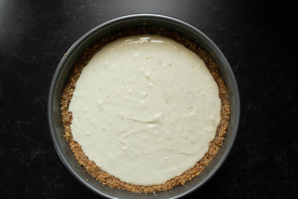no bake cheesecake poured into springform
