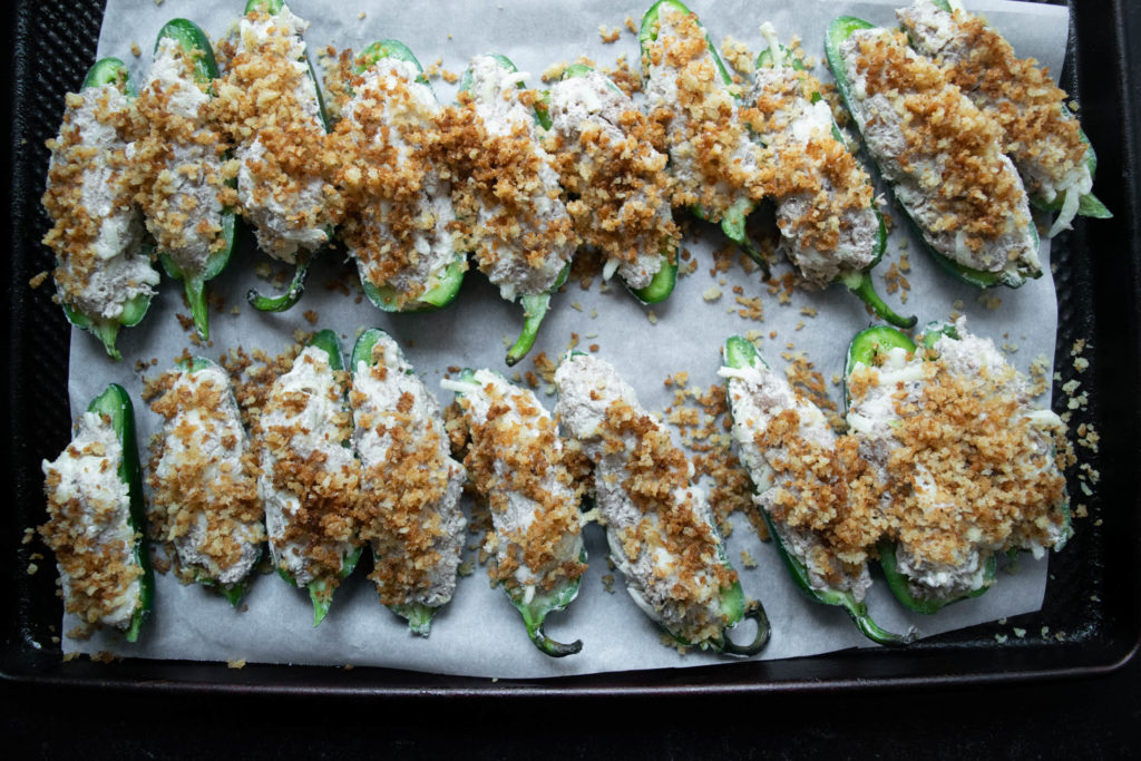 stuffed jalapeño poppers with buttered breadcrumbs