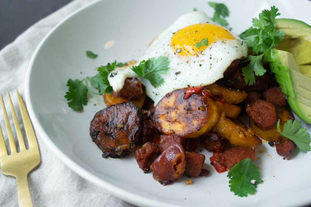 plantain and chorizo hash