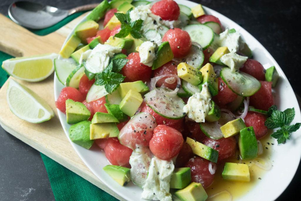 serving watermelon salad