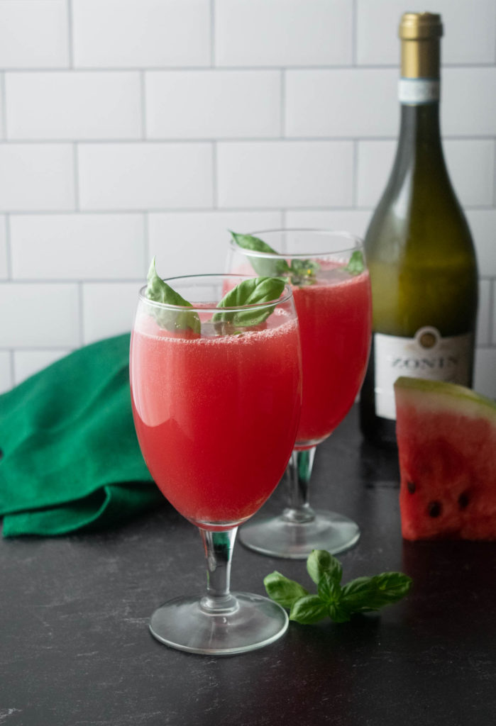 watermelon basil mimoas with prosecco