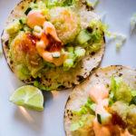 wasabi pea shrimp sushi tacos