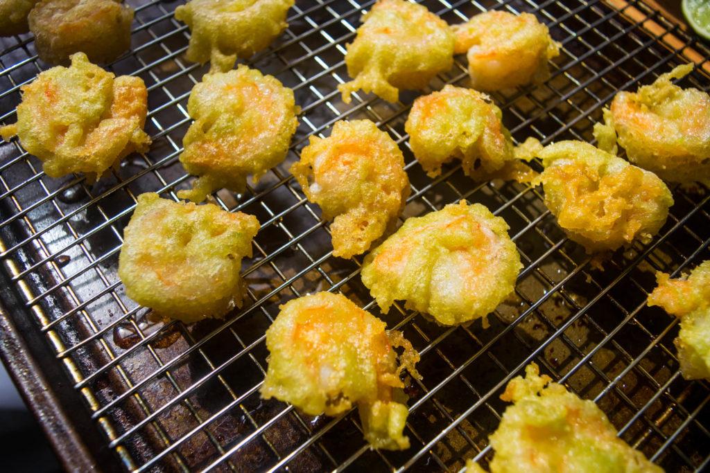 wasabi pea beer battered shrimp