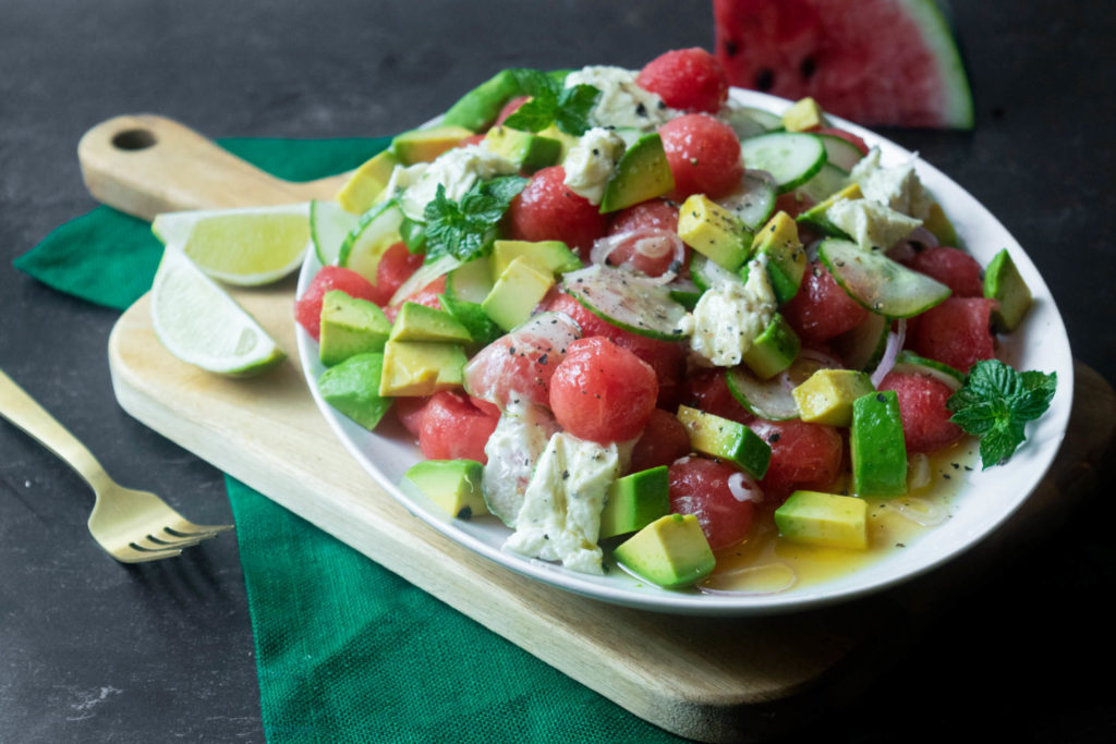 watermelon avocado salad with whipped goat cheese
