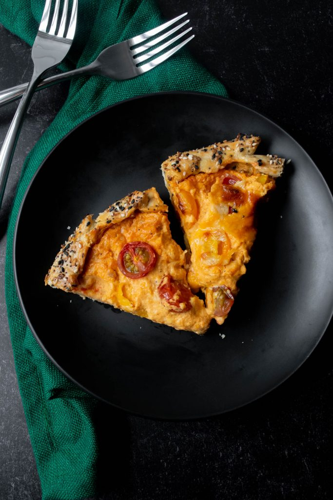 slices of pimento cheese and tomato galette