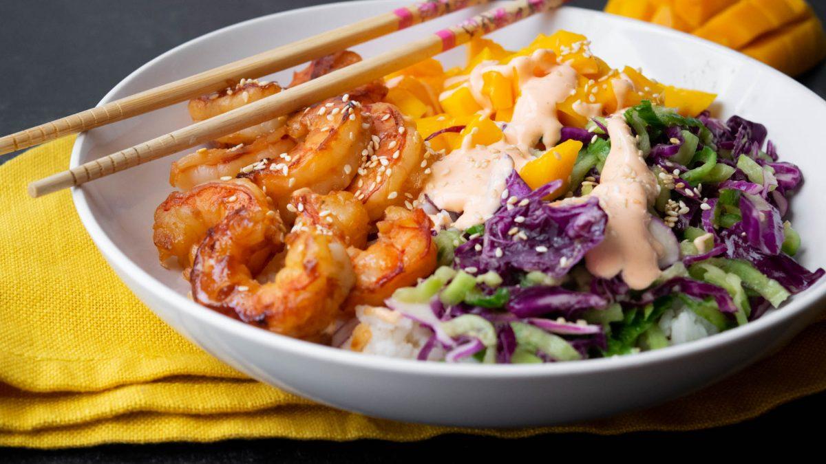 Shrimp and Mango Poke Bowls with Wasabi Ginger Dressing