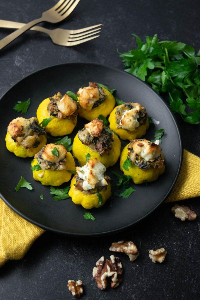 stuffed patty pan squash with rainbow swiss chard walnuts and goat cheese
