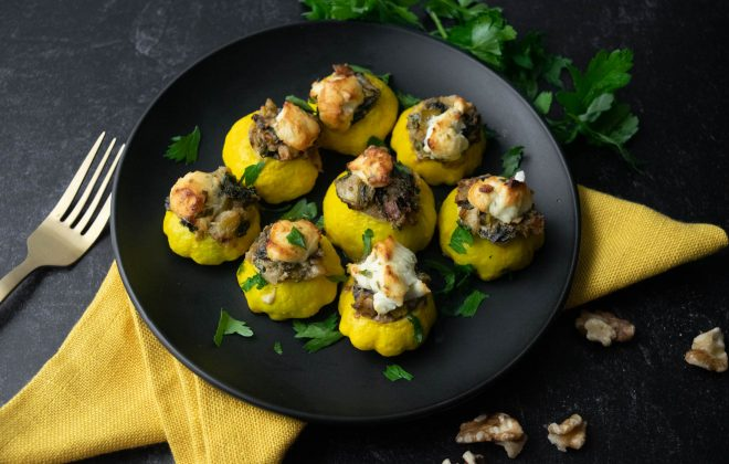 Stuffed Patty Pan Squash with Rainbow Chard, Walnuts & Goat Cheese