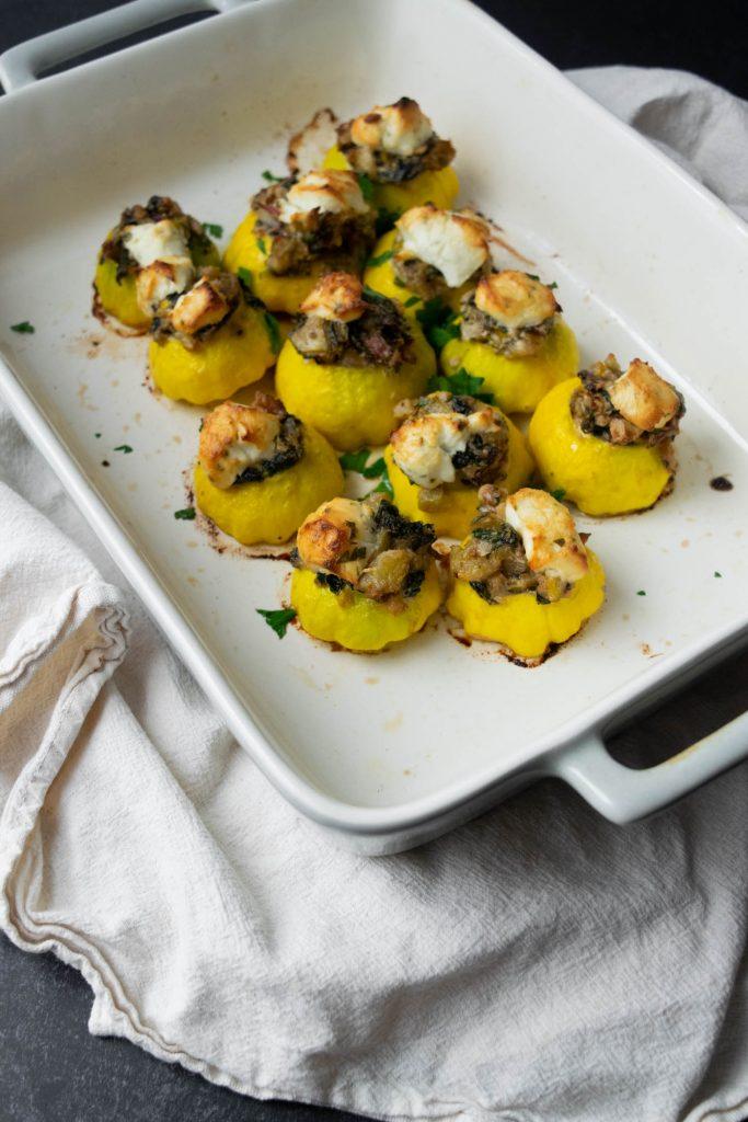 baked stuffed patty pan squash
