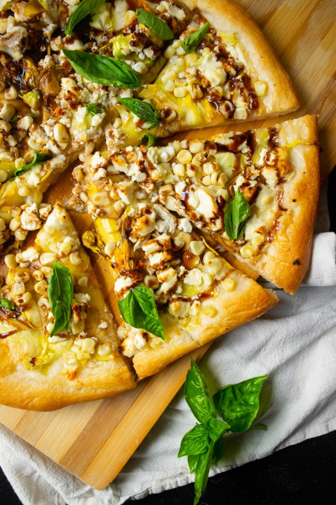 corn squash and goat cheese pizza