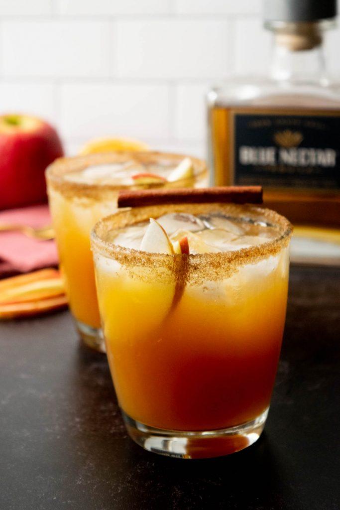apple cider margaritas with cinnamon