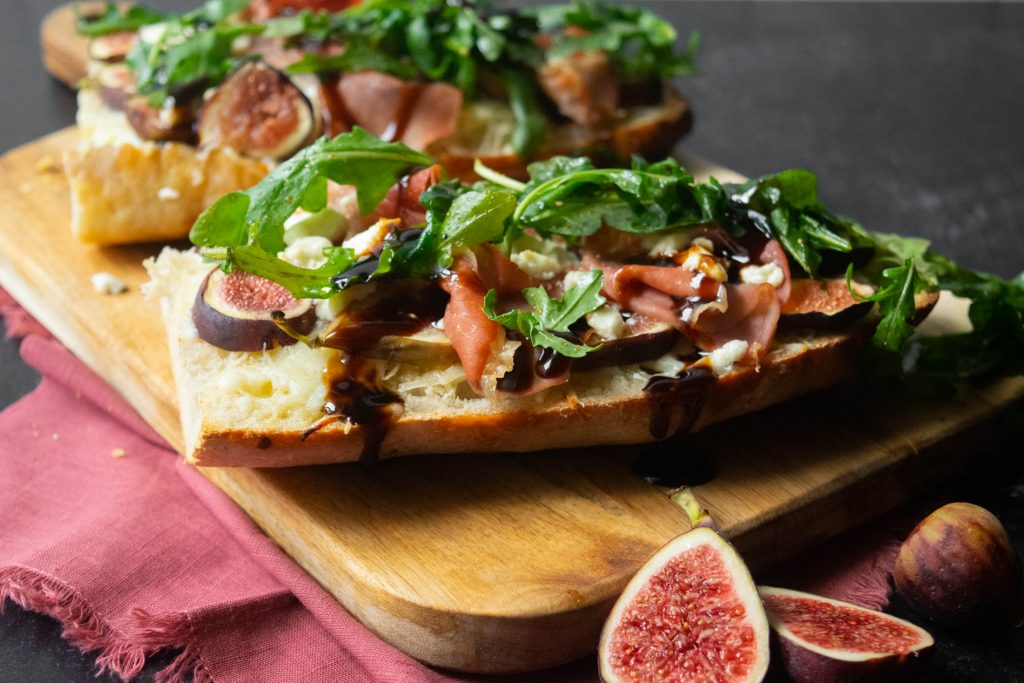 Balsamic Fig French Bread Pizza with Prosciutto