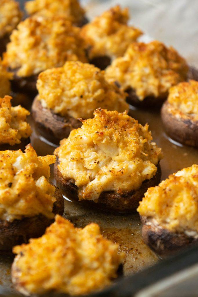 fresh baked crab stuffed mushrooms