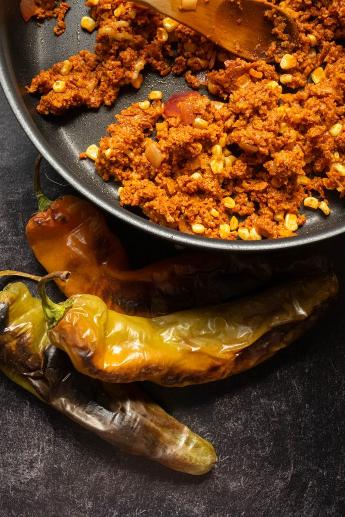 charred hatch chilis and filling