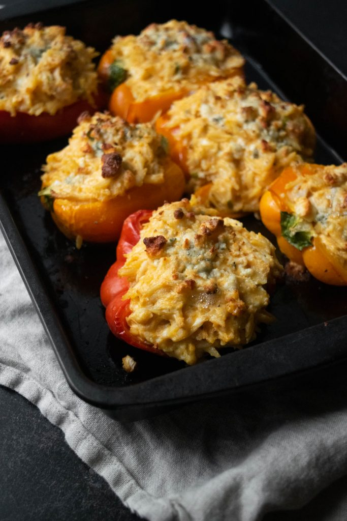 buffalo chicken stuffed peppers with orzo