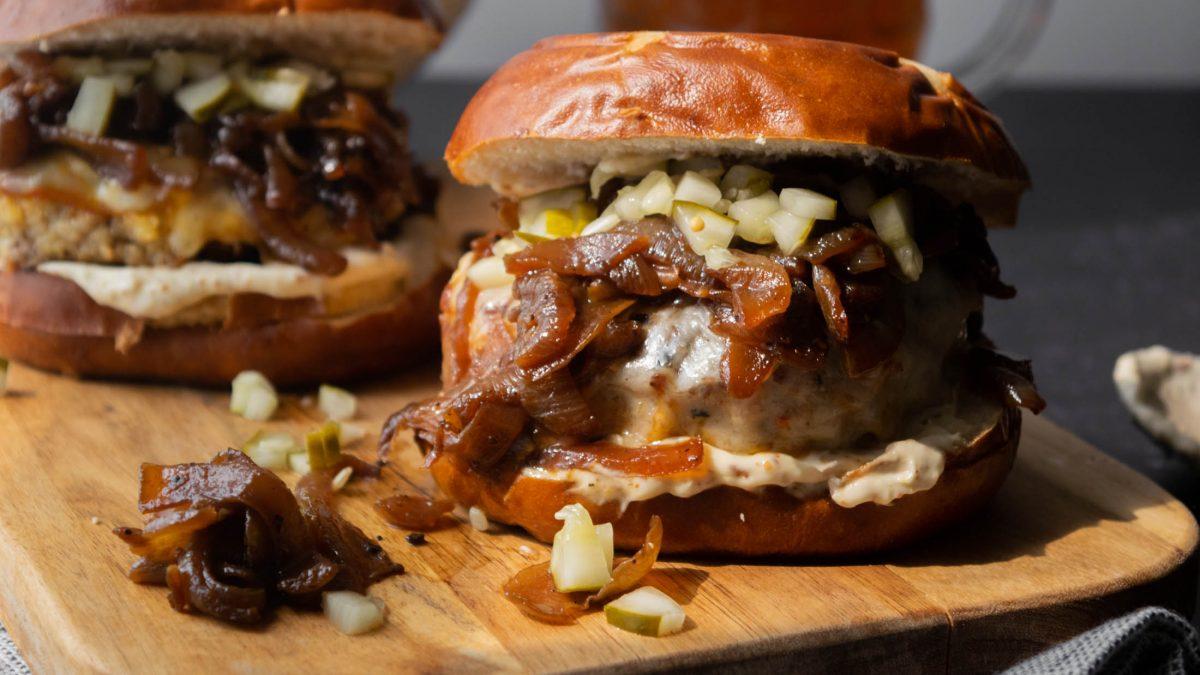 schnitzel burgers on pretzel buns