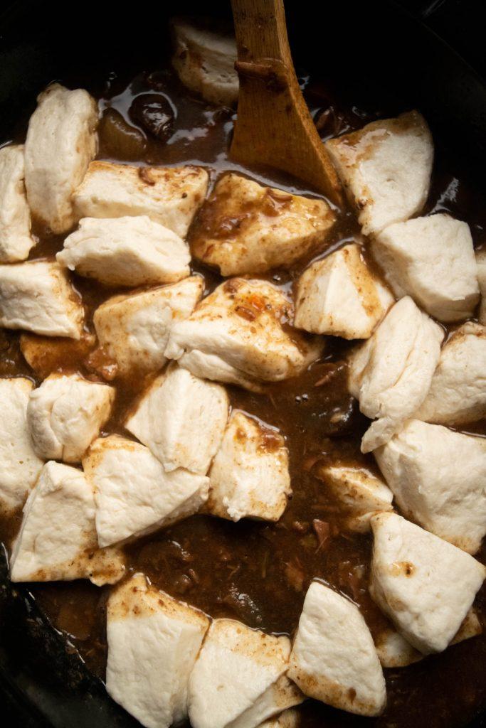 biscuit dough dumplings in stew