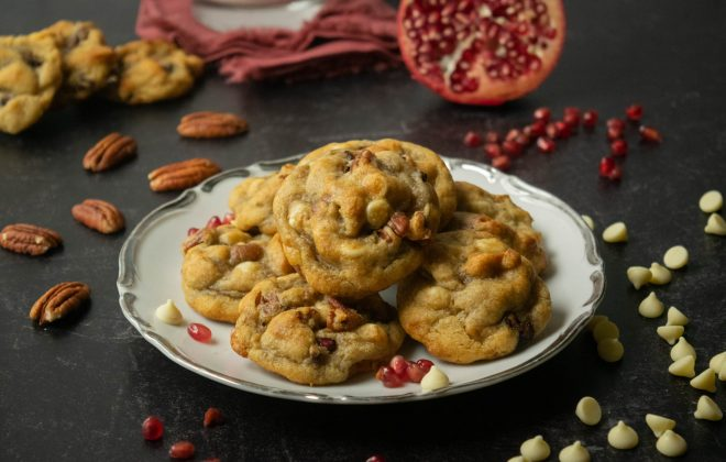 Pecan Pomegranate White Chocolate Chip Cookies