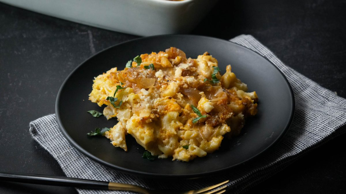 Roasted Butternut Squash and Caramelized Onion Macaroni and Cheese