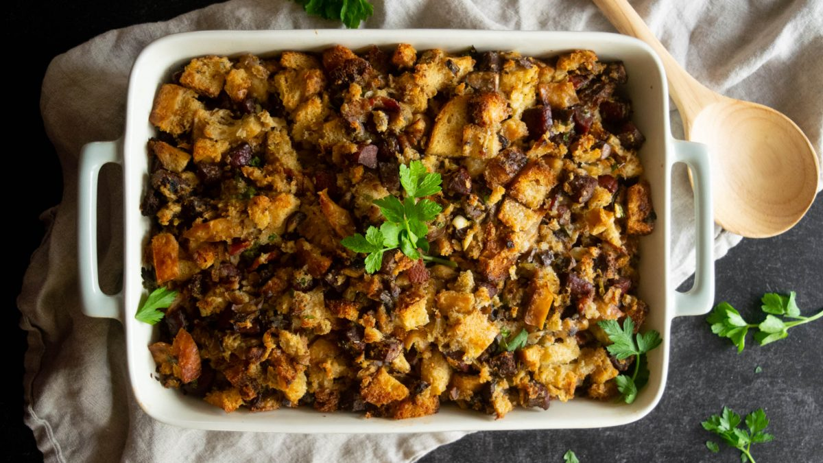 Sourdough Stuffing with Kielbasa and Bacon