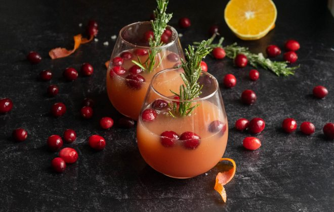 Cranberry Christmas Mimosas