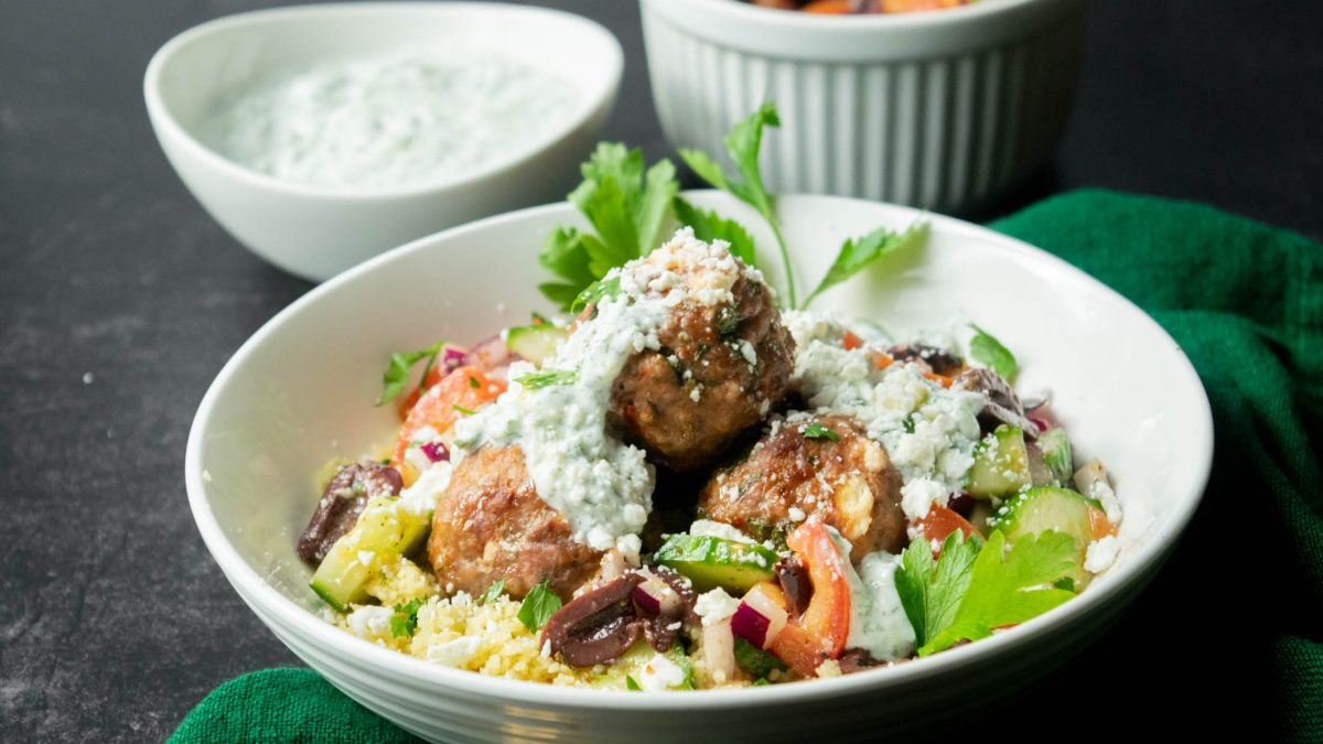 Greek Lamb Feta Meatball Bowls