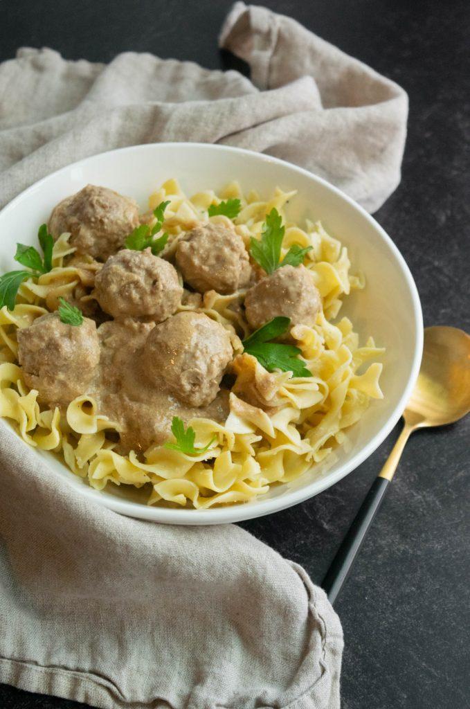 homemade swedish meatballs and egg noodles