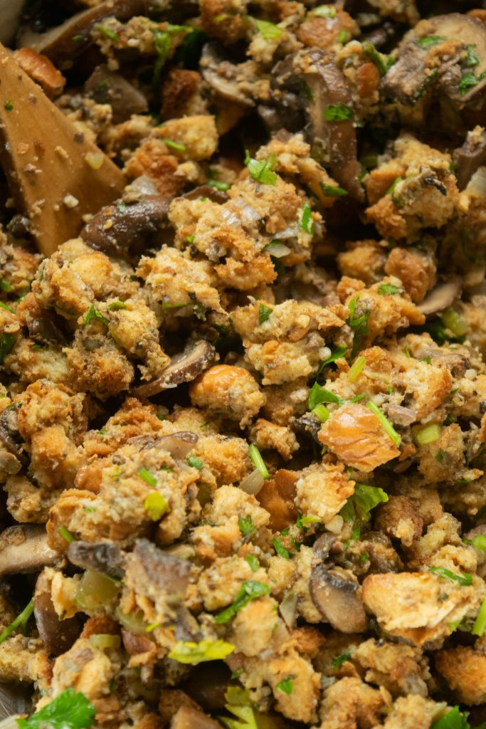 mixing the smoked oyster stuffing