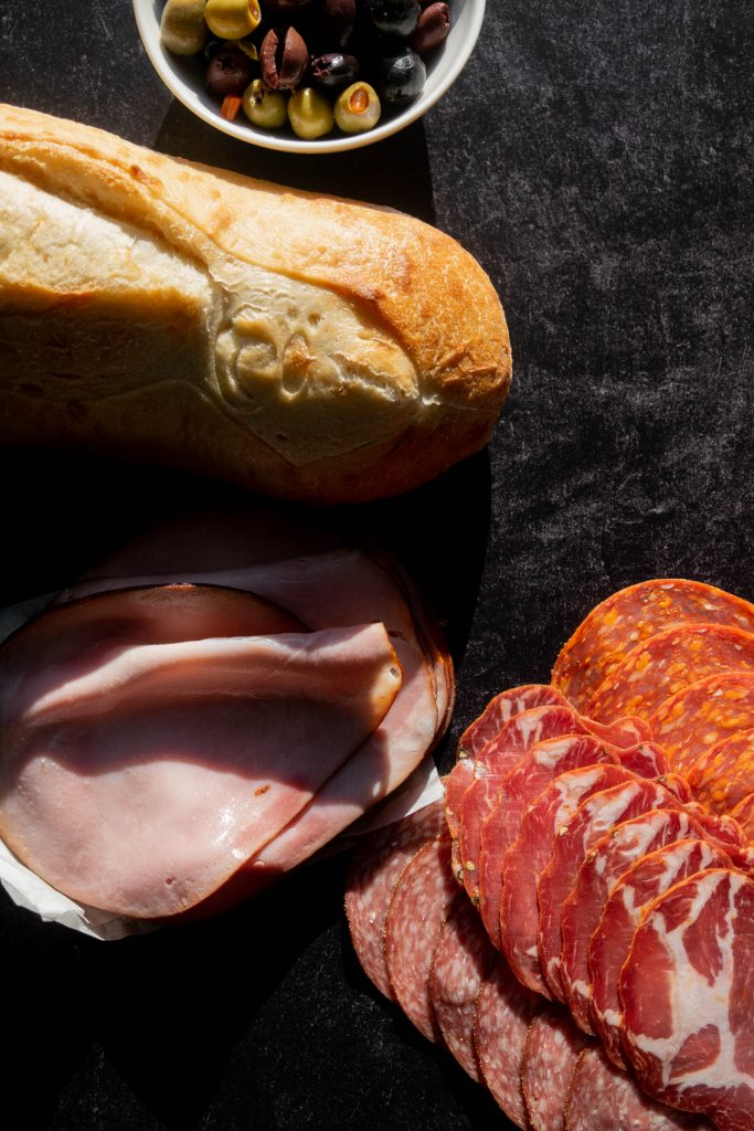 bread italian meats and olives