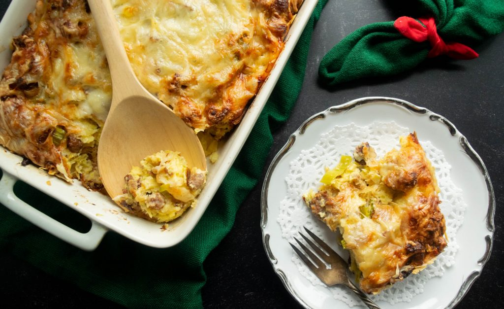 Overnight Sausage Leek and Croissant Breakfast Casserole