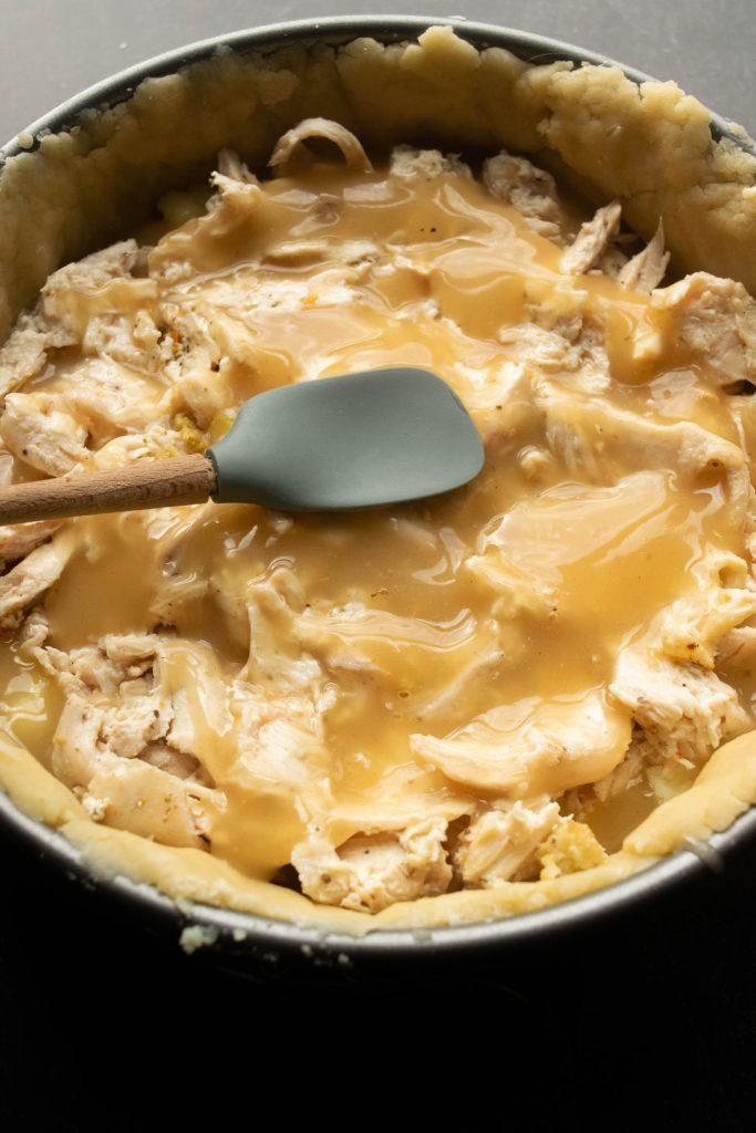 adding the turkey and gravy