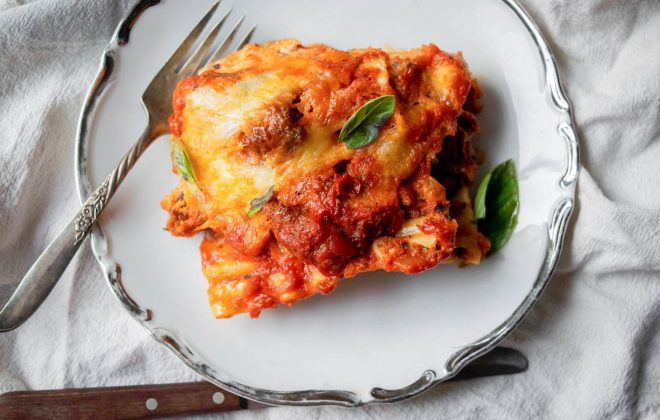 5 cheese sausage and spinach lasagna
